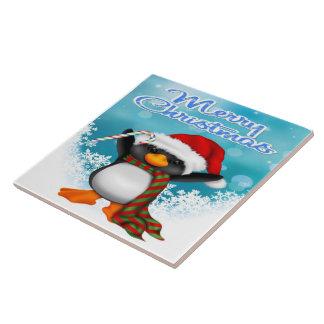 Azulejo/Trivet do pinguim do Feliz Natal