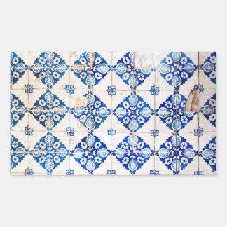 azulejo velho de Portugal da decoração azul de Adesivo Retangular