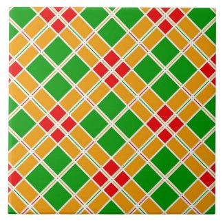 Azulejo verde, amarelo e vermelho da textura