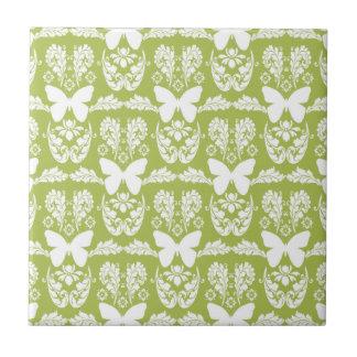 Azulejo verde-maçã Trivet do damasco da borboleta