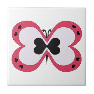 Azulejo vermelho, branco e preto da borboleta