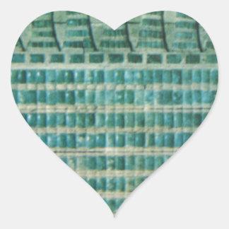 azulejos azuis da cerceta adesivo coração