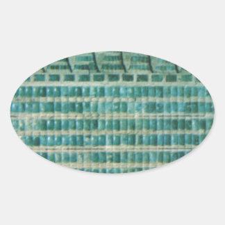 azulejos azuis da cerceta adesivo oval