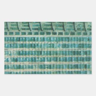 azulejos azuis da cerceta adesivo retangular