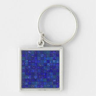 Azulejos azuis do banheiro chaveiro quadrado na cor prata