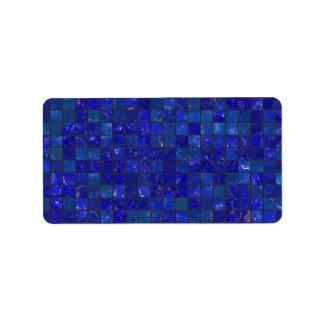 Azulejos azuis do banheiro etiqueta de endereço