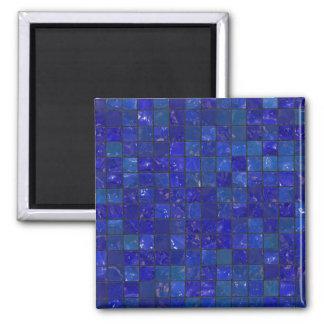 Azulejos azuis do banheiro ímã quadrado