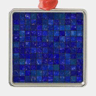 Azulejos azuis do banheiro ornamento quadrado cor prata