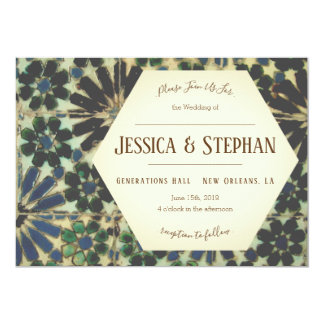 Azulejos azuis velhos que Wedding o convite