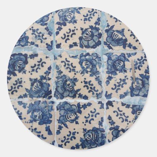 Azulejos de Azulejo do português Adesivo Em Formato Redondo