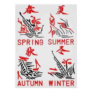 Azulejos de Mahjong, quatro estações, no fundo bra Poster
