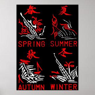 Azulejos de Mahjong, quatro estações, no fundo pre Poster