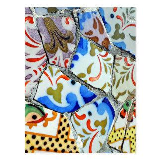 Azulejos de mosaico de Guell do parque de Gaudi Cartoes Postais