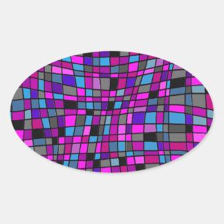 Azulejos de mosaico do vitral em matiz roxas adesivos ovais