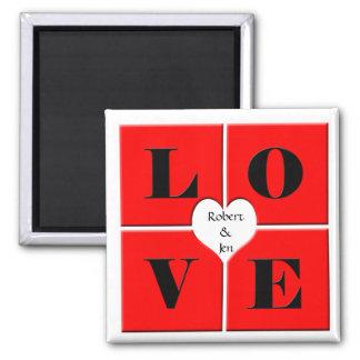 Azulejos do amor ímã quadrado