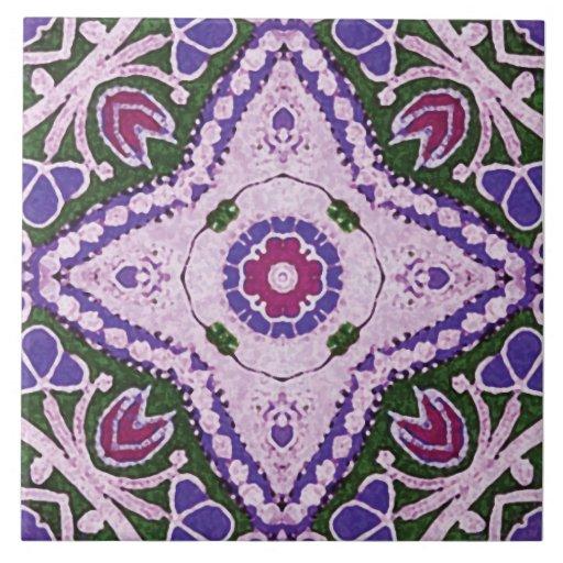 azulejos do Batik-estilo, floral, violeta, cerise,