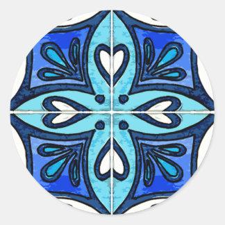 Azulejos do coração inspirados pelo azul de adesivo
