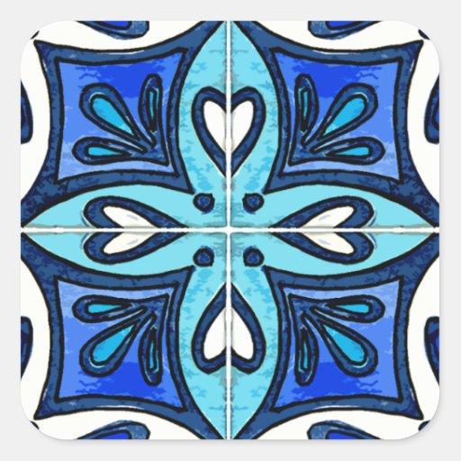 Azulejos do coração inspirados pelo azul de adesivo em forma quadrada