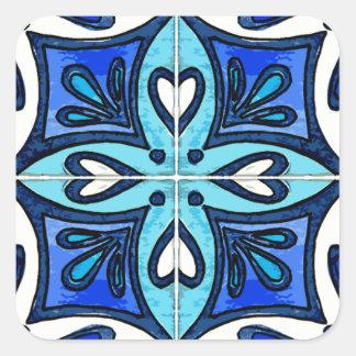 Azulejos do coração inspirados pelo azul de Azulej Adesivo Em Forma Quadrada