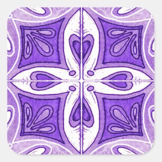 Azulejos do coração inspirados pelo roxo de adesivo quadrado