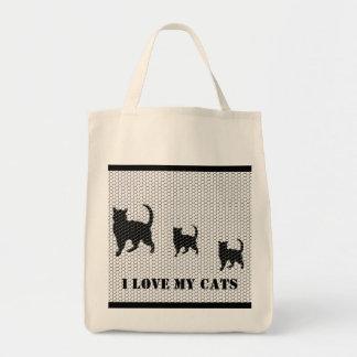 azulejos do gato, eu amo meus gatos bolsas para compras