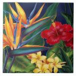 Azulejos florais havaianos & Trivets do paraíso tr
