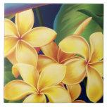 Azulejos havaianos & Trivet do Plumeria do paraíso