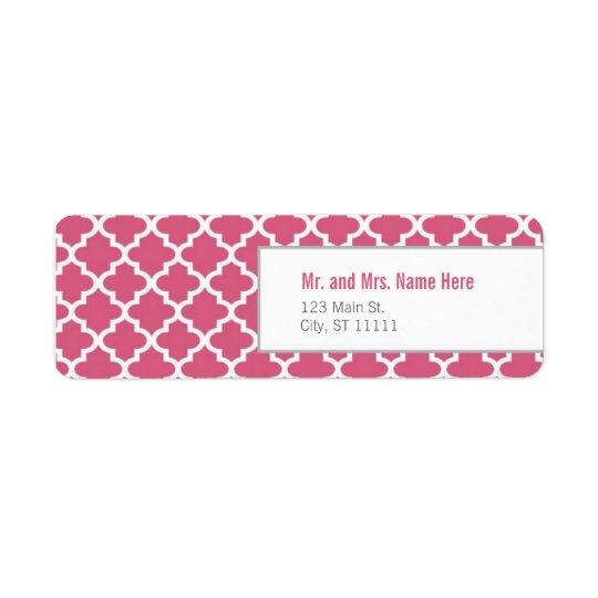 Azulejos marroquinos cor-de-rosa etiqueta endereço de retorno