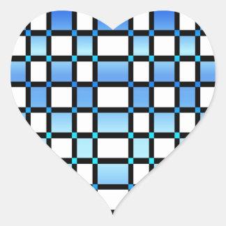 Azulejos modernos do quadrado azul e preto adesivo coração