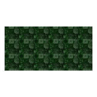 Azulejos no verde cartão com foto