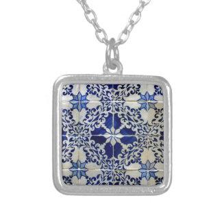 Azulejos, Portuguese Tiles Colar Banhado A Prata