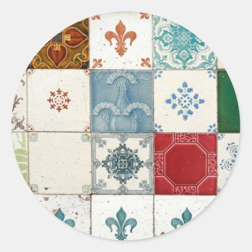 Azulejos portugueses adesivo em formato redondo