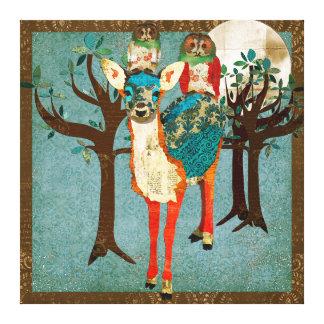 Azure Fawn & Rose Owls Full Moon Canvas Art Canvas Print