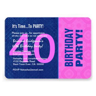 B40D azul do aniversário de 40 anos e cor-de-rosa