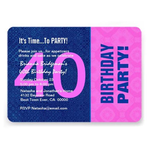 B40D azul do aniversário de 40 anos e cor-de-rosa  Convite