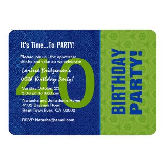 B40D azul do aniversário de 40 anos e verde Convite 12.7 X 17.78cm