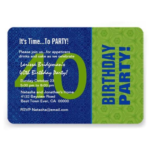 B40D azul do aniversário de 40 anos e verde modern Convites