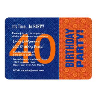 B40E azul do aniversário de 40 anos e alaranjado Convite 12.7 X 17.78cm