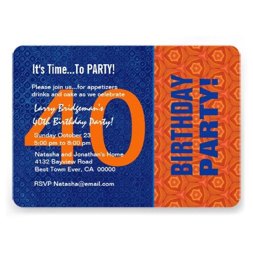 B40E azul do aniversário de 40 anos e alaranjado m Convites Personalizado