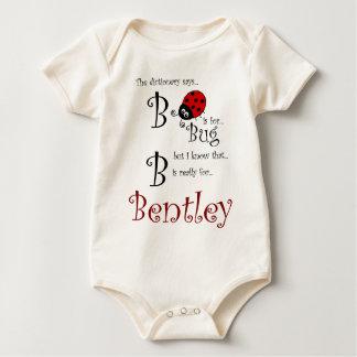 B é para Bentley, T do inseto do bebê Macacãozinhos Para Bebê