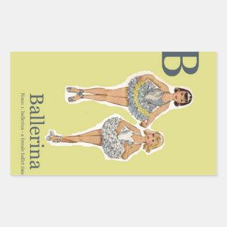 B é para o alfabeto da forma da bailarina adesivo em forma retangular