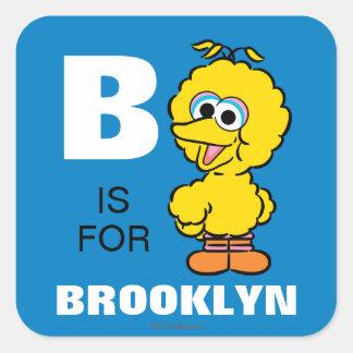 B é para o pássaro que grande   adicionam seu nome adesivo quadrado