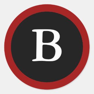 B: Letra inicial etiqueta vermelha, branca & preta Adesivo