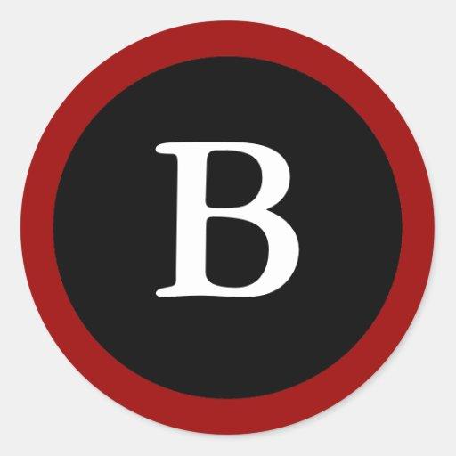 B: Letra inicial etiqueta vermelha, branca & preta Adesivo Em Formato Redondo