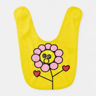 Babador adorável do bebê do design da flor do rosa