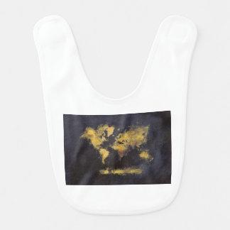 Babador amarelo preto do mapa do mundo