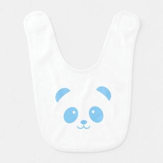 Babador azul bonito e peluches do bebê da panda