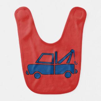 Babador azul do bebê do caminhão de reboque