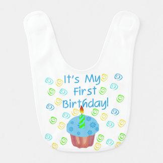 Babador azul do primeiro aniversario do cupcake babadores infantis