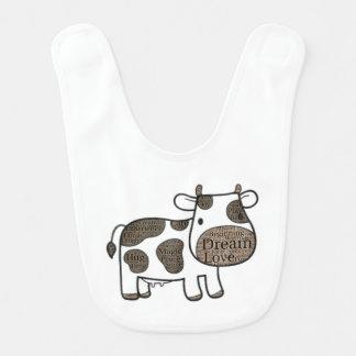 Babador bonito do bebê com vaca